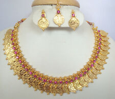 South Indian temple jewelry gold pink stone lakshmi kasu necklace with earring