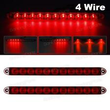 "2PCS Red 15"" 11 LED Surface Mount Sealed Stop Tail Turn Brake 4 Wires Light bars"