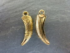 20 x Gold Tusk Horn Charms Pendants Beads Spacers Findings 23mm x 7mm