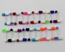 Lot of 20 Colorful Pills Tongue Ring Assorted 14G Piercing Barbells JW722 K6