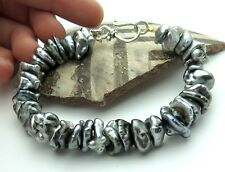 EXQUISITE AAA TAHITIAN 7-13mm BLACK & SILVER KESHI PEARL BRACELET BELLY DRILL