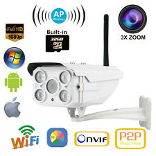 Wireless AP 32GB 4X Zoom Sony CMOS HD 1080P 2MP Outdoor IR Wifi IP Camera Audio