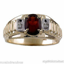 Mens Garnet & Diamond Ring 14K Yellow Gold January Birthstone