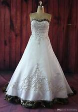 Fashion White Camo Wedding Dresses Embroidery Camouflage Appliques Bridal Gowns