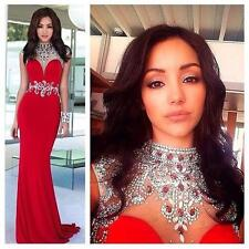 Pageant Gown Bead Ball Crystal 2016 Formal Prom Long Party Dress Evening Mermaid