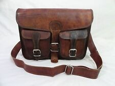 "11x9"" Real Brown Leather Satchel Crossbody Messenger Bag Tab/iPad Handbag"