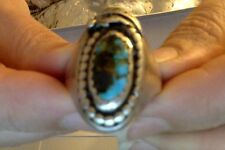 Native American Kingman Turquoise Men ring Size 10 Signed Sterling Navajo 13g