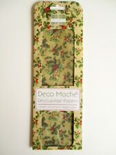 First Edition Deco Mache Decoupage Papers - Vintage Holly - Christmas decopatch