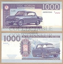 Czechoslovakia 1000 Korun 2016 AB UNC SPECIMEN Test Banknote - Skoda 100 MB Car