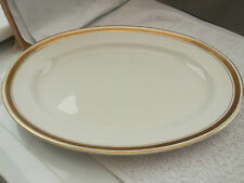 MEDIUM OVAL MINTON PLATTER WITH GOLD COLOURED TRIM & BLACK  GREEK KEY OVERLAID