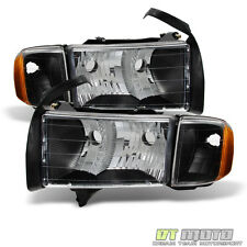 Black 1999-2002 Dodge Ram Sport Model Headlights Headlamps +Corner Lamps Lights