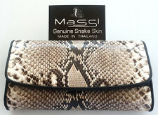 Genuine Real Belly Python Snake Leather Woman Bifold Wallet Natural Rare New A