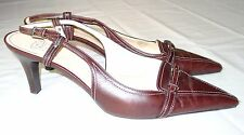 Circa Joan & David Slingback Heels Shoes 12 Women's Leather Brown