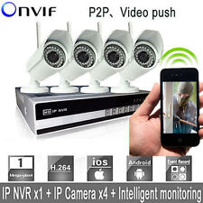 Wireless 4CH Wifi NVR Kit DVR Network 4 Day Night IP Cameras P2P Security System