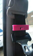 PINK SEAT BELT ADJUSTER STOP STOPPER CLIP CLIPS PAIR SNAP ON BRAND NEW