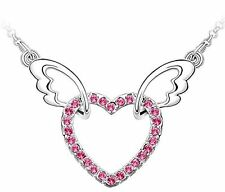 GirlZ! Rose pink swarovskilike Angel Wings Heart crystal pendant necklace chain