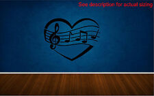 Music Note Heart Removable Wall Decal Kids Room Music Room