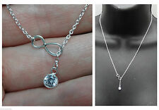 New 925 STERLING SILVER Infinity CZ Lariat style pendant Necklace