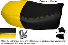 YELLOW & BLACK CUSTOM FITS KAWASAKI ZR 750 ZEPHYR 91-99 DUAL LEATHER SEAT COVER