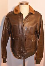 VTG USN GOATSKIN LEATHER G1 MILITARY FLIGHT JACKET-CUFFS/WAIST/LINING REPLACED S