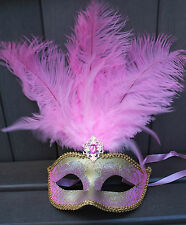 PALE PINK & GOLD FEATHER MASK VENETIAN MASQUERADE BALL CARNIVAL PARTY EYE MASK