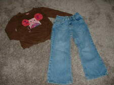 OshKosh B'gosh Toddler Girls Mouse Shirt Pants Jeans Set Lot Size 3T Clothes GUC