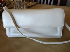 PRESTON & YORK WHITE LEATHER Purse Handbag Structured Detached Strap Mag Flap