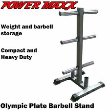 POWER MAXX Olympic Weight Plate Stand Tree Rack Storage Barbell Holder
