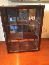 WOODEN CURIO MULTI SHELF COMPARTMENT WALL DISPLAY CABINET WITH DOOR 51 x 38 cm