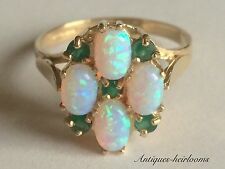 VINTAGE 9CT YELLOW GOLD OPAL & EMERALD RING FULL ENGLISH HALLMARK 9ct 375