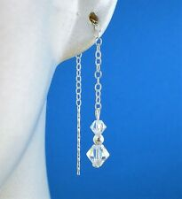 Sterling Silver 925  AB Swarovski Elements  Pull Through Drop Dangle Earrings