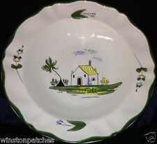 "VARAGES FRANCE CABANON LARGE RIM SOUP BOWL 9 1/4"" COTTAGE SCENE GREEN TRIM"