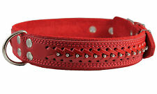"""Quality Real Leather Dog Collar Studs Braided 19""""-24"""" neck 1.6"""" wide Mastiff"""