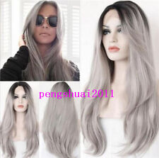 Straight Ombre Gray Lady Fashion Lace Front Wig Hair Heat Resistant Natural Long