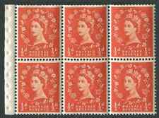 SB.14 1959 ½d Orange-Red booklet pane of 6 with selvedge, unmounted mint.