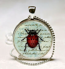 Vintage Ladybug Cabochon Silver plated Glass with Ball Chain Pendant Necklace