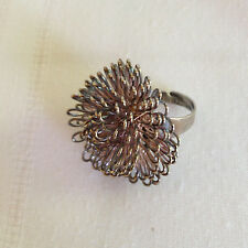 Vintage WIRE BALL RING - Silver - Steampunk - Chunky wire loop ring - Adjustable