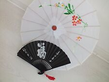 CHINESE JAPANESE S WHITE PARASOL BLACK LUCK HAND FAN WEDDING GIRL WOMEN UMBRELLA