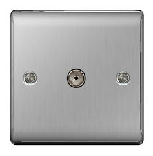 STAINLESS STEEL 1 Gang TV COAX Co-Axial Socket Outlet Brushed Satin - NBS60