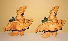 Vintage Resin Pair Of Cockatoo Parrots Bird Wall Hanging Plaques