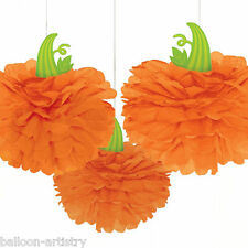 3 Spooky Halloween Orange Fluffy Paper PUMPKINS Hanging Party Decorations