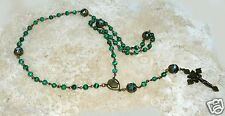 Malachite Austrian Crystal Antique Bronze Crown of Thorns/Sacred Heart Rosary