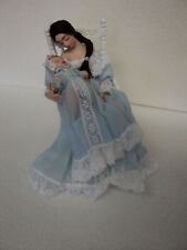 DOLLHOUSE DOLL/ MOTHER IN ROCKER W/ BABY/ BLUE GOWN