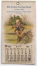 Rare 1891 Advertising Calendar for the Central Savings Bank of Canton Ohio