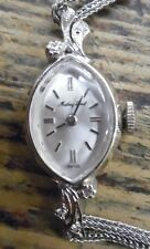 VTG Mathey Tissot 14K White Gold Diamond Ladies Wrist Watch W/ Sterling Band