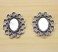 20 pcs Antique Silver Cameo Cabochon Base Setting Charm connector 25.5x22 mm