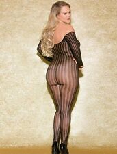 Sheer Thin Vertical Striped Off Shoulder Long Sleeve Full Bodystocking Hose M-XL