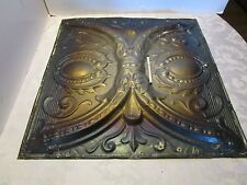 """Antique Victorian Ceiling Tin Metal Wall Tile panel Reclaimed  24 ½""""' x 24 ½"""" 3D"""