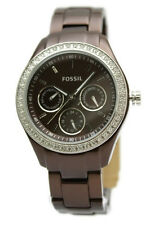 Fossil Stella Brown Aluminum Multi Function Date Women Watch 38 mm ES2949 $135