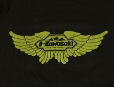 Vintage 70s KAWASAKI MOTORCYCLE Jordan Design All Cotton Black Thin T Shirt.